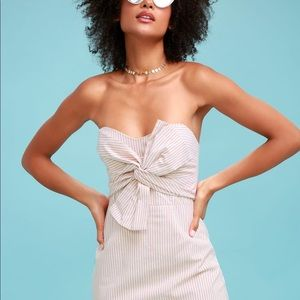 Dresses - Beige and White Striped Strapless Dress with Bow